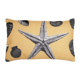 'Vita' Vintage Seashell Printed Feather Fill Pillow (12 x 20 inches)