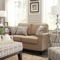 Inspire Q Lorimer Light Brown Fabric Upholstered Track-arm Loveseat