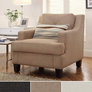 INSPIRE Q Elston Tan Linen Sloped Track Arm Chair