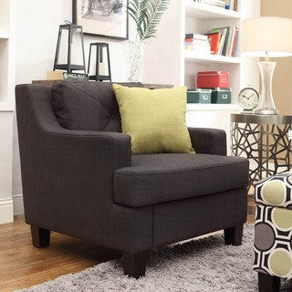 INSPIRE Q Elston Dark Grey Linen Sloped Track Arm Chair