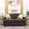 Inspire Q Cameron Dark Grey Fabric Tufted Sloped Arm Loveseat