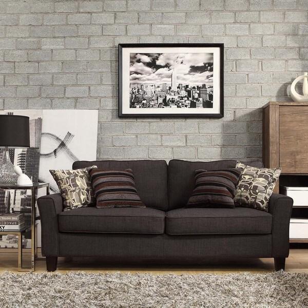 INSPIRE Q Fullerton Dark Grey Linen Flared Track Arm Sofa