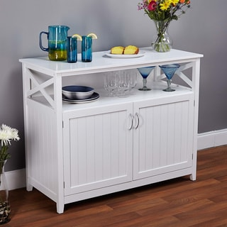 simple living southport white beadboard buffet overstock shopping