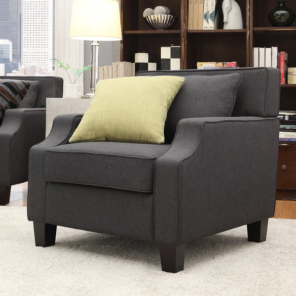 INSPIRE Q Broadway Dark Grey Fabric Sloped Track Arm Chair