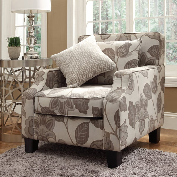 INSPIRE Q Broadway Grey Floral Sloped Track Arm Chair