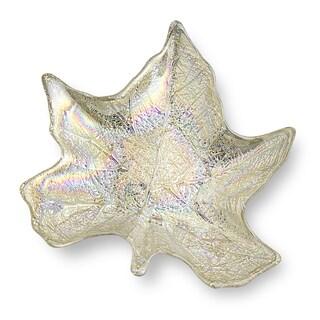 Silver Glass 8.5-inch Leaf Bowl
