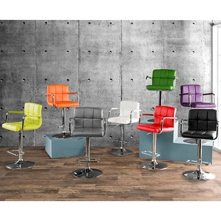 Furniture of America Corvelli Adjustable Swivel Leatherette Bar Stool