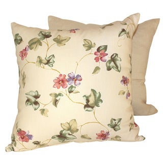 Precious Petals Cream Throw Pillow (Set of 2)