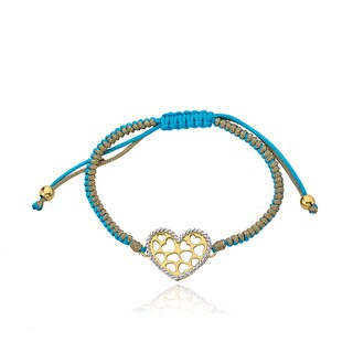 Little Miss Twin Stars 14k Goldplated Brass Heart Bracelet with Bonus Bracelet
