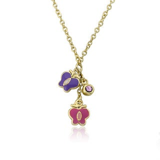 Little Miss Twin Stars Brass Pink/ Purple Butterflies Necklace with Bonus Necklace