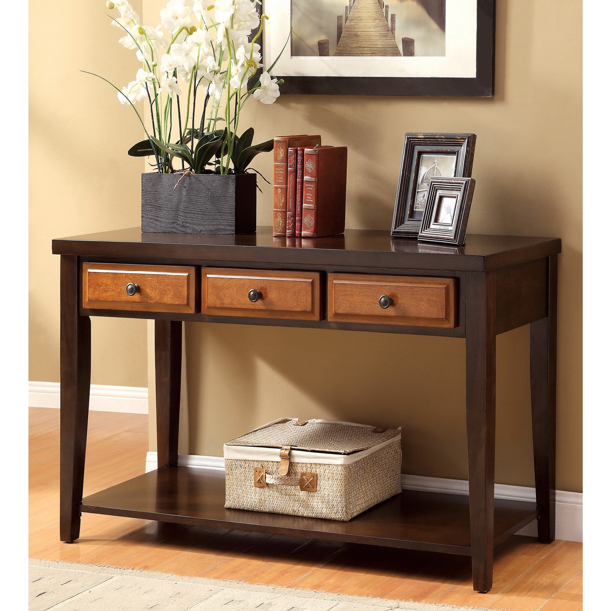 Dark Oak & Cherry Sente Transitional 3 Storage Drawer Console Table . Full resolution‎  image, nominally Width 2000 Height 2000 pixels, image with #A47727.