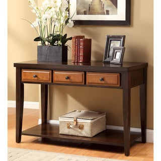 Furniture of America Dark Oak & Cherry Sente Transitional 3-storage Drawer Console Table