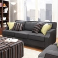 Inspire Q 'Ellyson' Dark Grey Sloped Track Arm Sofa