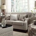 Inspire Q 'Ellyson' Light Grey Sloped Track Arm Loveseat