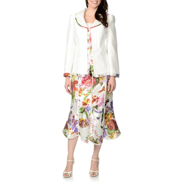 Giovanna Signature Women's 2-piece White Multi Floral Skirt Suit