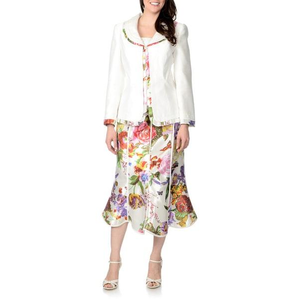 Giovanna Signature Women's 2-piece White Multi Floral Skirt Suit