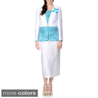 Giovanna Signature Women's 3-piece Crinkle Border Skirt Suit