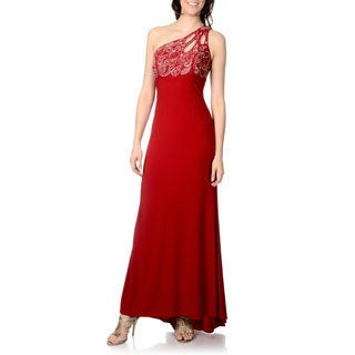 Ignite Women's One Shoulder Beaded Bust Gown