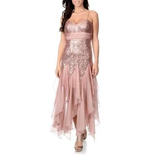 Ignite Women's Cascading Ruffle Sequin Dress
