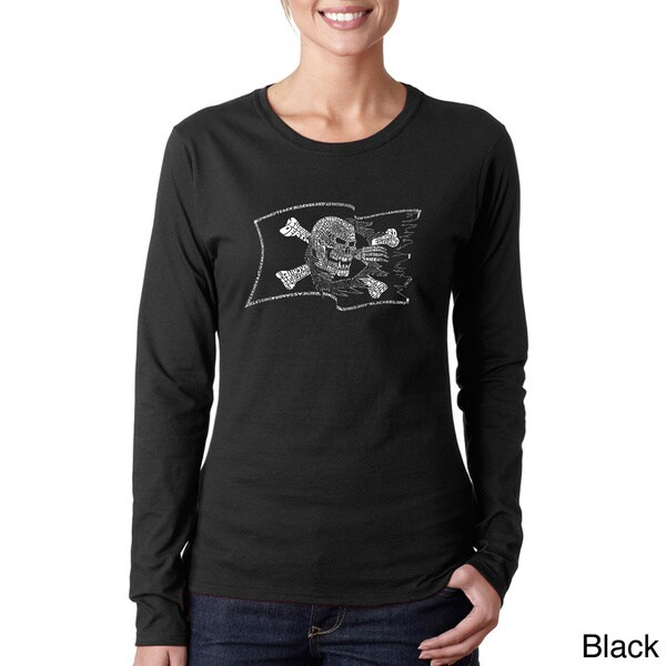 Los Angeles Pop Art Women's 'Pirate Flag' Long Sleeve T-shirt