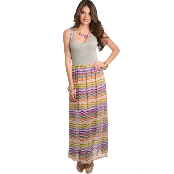 Shop The Trends Women's Grey Fuchsia Maxidress