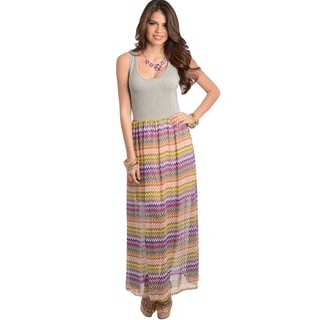 Feellib Women's Grey Fuchsia Maxidress