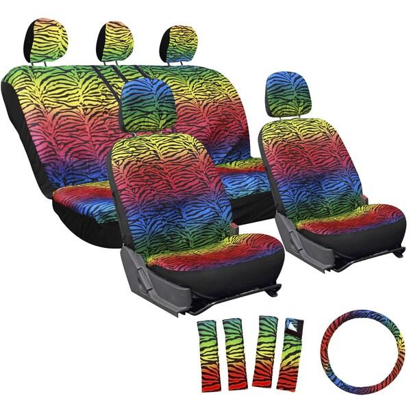 Oxgord Zebra/ Tiger Strip Rainbow 17-piece Seat Cover Set
