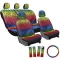 Oxgord Zebra/ Tiger Strip Rainbow 17-piece Seat Cover Set