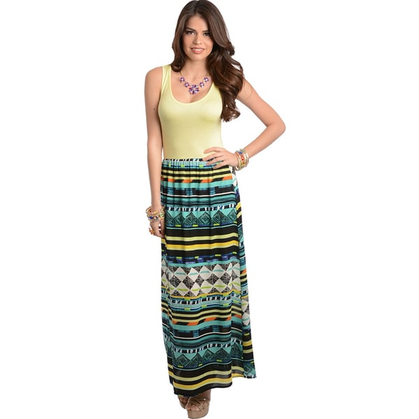 Shop The Trends Women's Yellow Emerald Maxidress