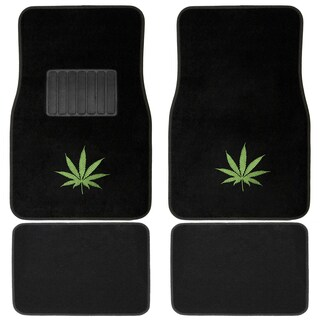 Oxgord Black/ Green Cannabis Leaf 4-piece Floor Mat Set