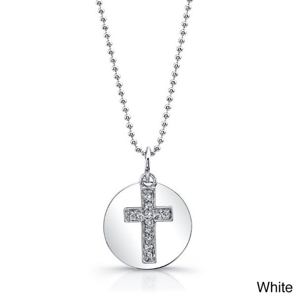 14k White Gold Diamond Accent Cross Disc Pendant Necklace with 16-inch Chain
