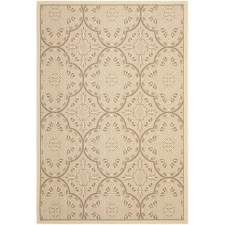 Safavieh Indoor/ Outdoor Courtyard Cream/ Light Chocolate Rug (7'10 x 10')
