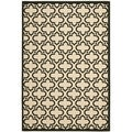 Safavieh Indoor/ Outdoor Courtyard Creme/ Black Rug (7'10 x 10')