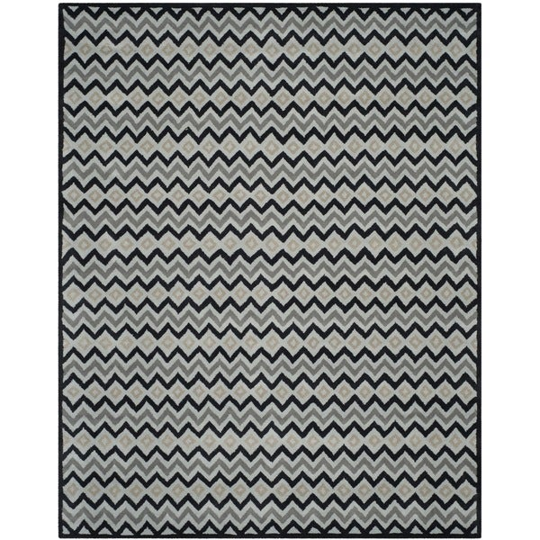 Isaac Mizrahi by Safavieh Black Cravat Grey/ Black Wool Rug (8' x 10')