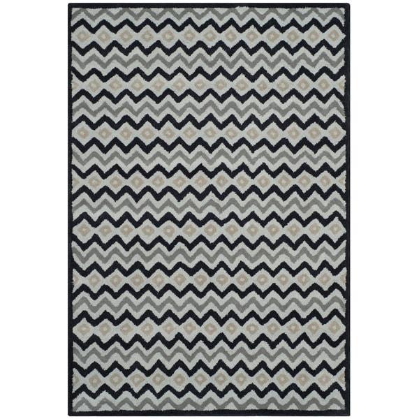 Isaac Mizrahi by Safavieh Black Cravat Grey/ Black Wool Rug (4' x 6')