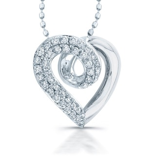Victoria Kay 14k White Gold 1/3ct TDW Diamond Heart Necklace with 16-inch Ball Chain (I-J, I1-I2)