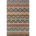 Isaac Mizrahi by Safavieh Calico Stripe Blue/ Multi Wool Rug (8' x 10')
