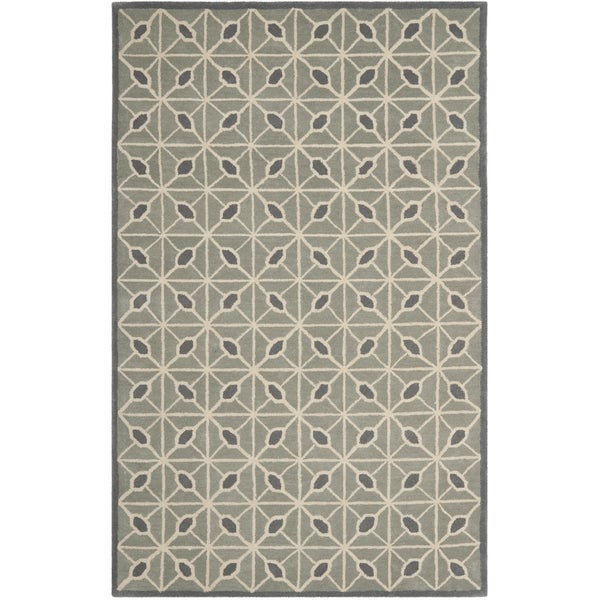 Isaac Mizrahi by Safavieh Fashion Grid Dark Grey/ Charcoal Wool Rug (4' x 6')