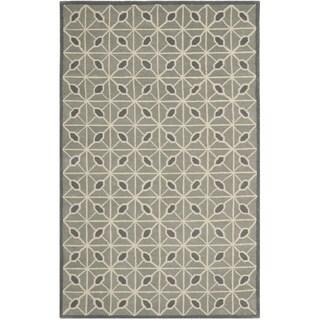 Isaac Mizrahi by Safavieh Fashion Grid Dark Grey/ Charcoal Wool Rug (4' x 6')