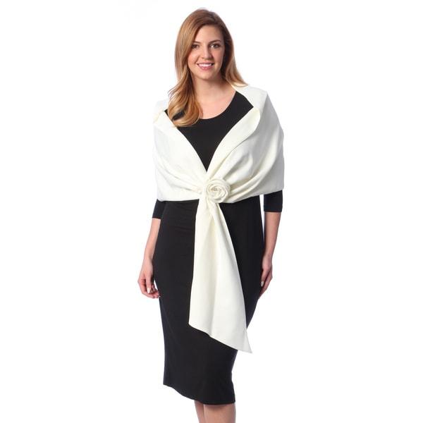 Alex Evenings Women's Plus Size Ivory Rosette Satin Wrap (One Size)