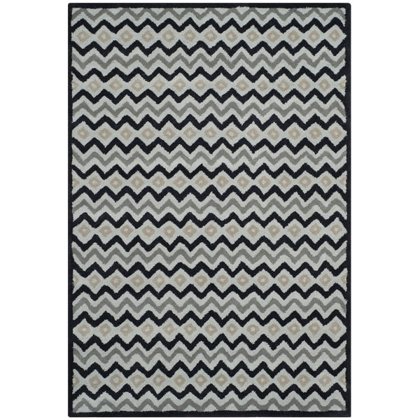 Isaac Mizrahi by Safavieh Black Cravat Grey/ Black Wool Rug (5' x 8')