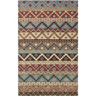 Isaac Mizrahi by Safavieh Calico Stripe Blue/ Multi Wool Rug (5' x 8')
