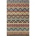 Isaac Mizrahi by Safavieh Calico Stripe Blue/ Multi Wool Rug (4' x 6')