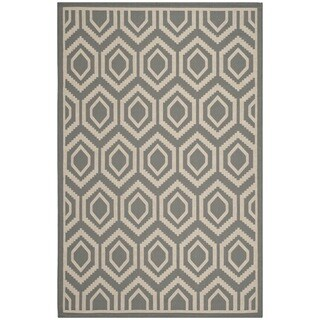 Safavieh Indoor/ Outdoor Moroccan Courtyard Anthracite/ Beige Rug (9' x 12')