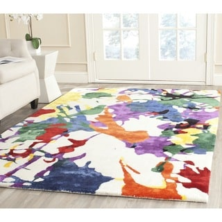 Isaac Mizrahi by Safavieh White Splatter Wool Rug (5' x 8')