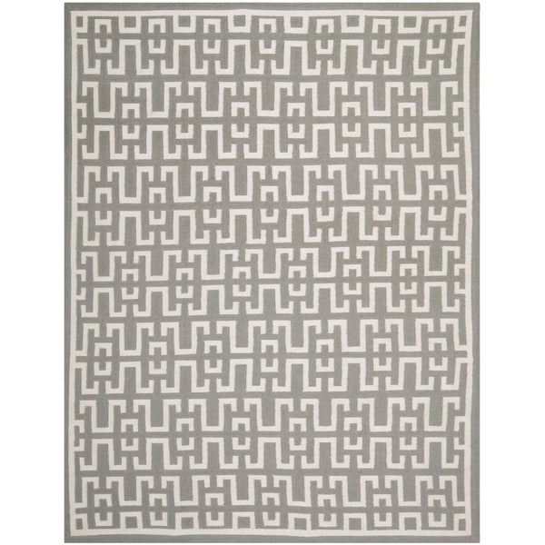 Safavieh Hand-woven Moroccan Reversible Dhurries Soft Grey/ Ivory Wool Rug (9' x 12')