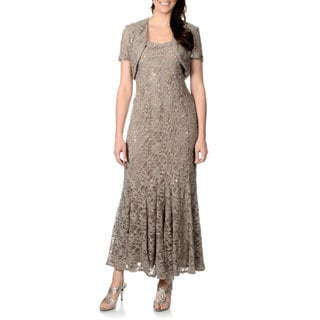 R&M Richards Women's Petite Mocha Lace Overlay 2-piece Gown Set