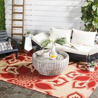 Safavieh Indoor/ Outdoor Courtyard Creme/ Red Rug (6'7 x 9'6)