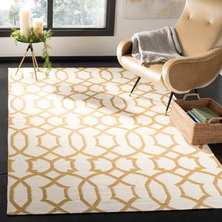 Safavieh Hand-woven Moroccan Dhurries Ivory/ Yellow Wool Rug (6' x 9')