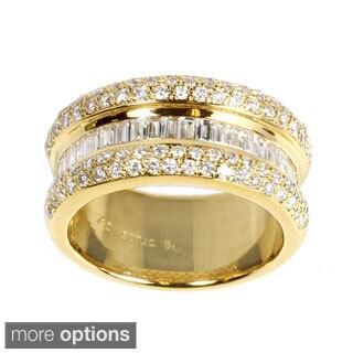 Sonia Bitton 18k White Gold 1ct TDW Designer Pave Diamond Ring (G-H, SI1-SI2)